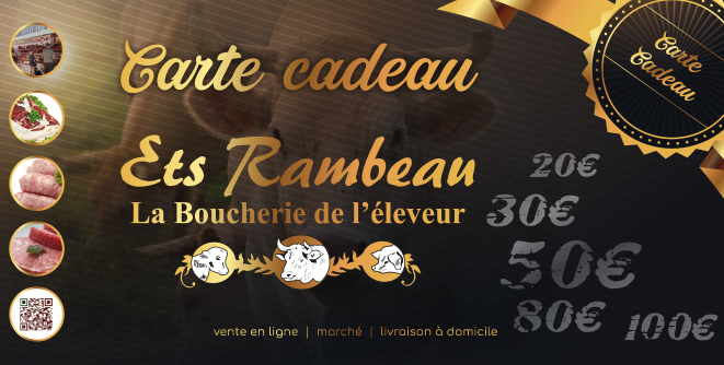 carte cadeau ETS Rambeau boucher éleveur vente de viande en ligne boeuf agneau porc Charente-Maritime producteur local Soubran Bordeaux Royan